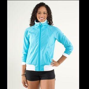 Lululemon Blue White Run Track Attack Jacket